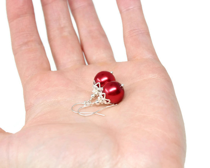 12mm Red Christmas Ball Earrings