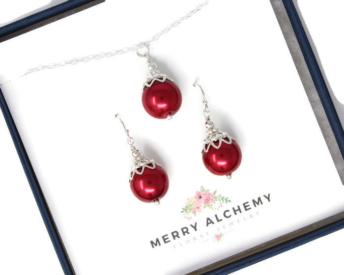 Red Christmas Ball Necklace & Earring Set ~ 12mm