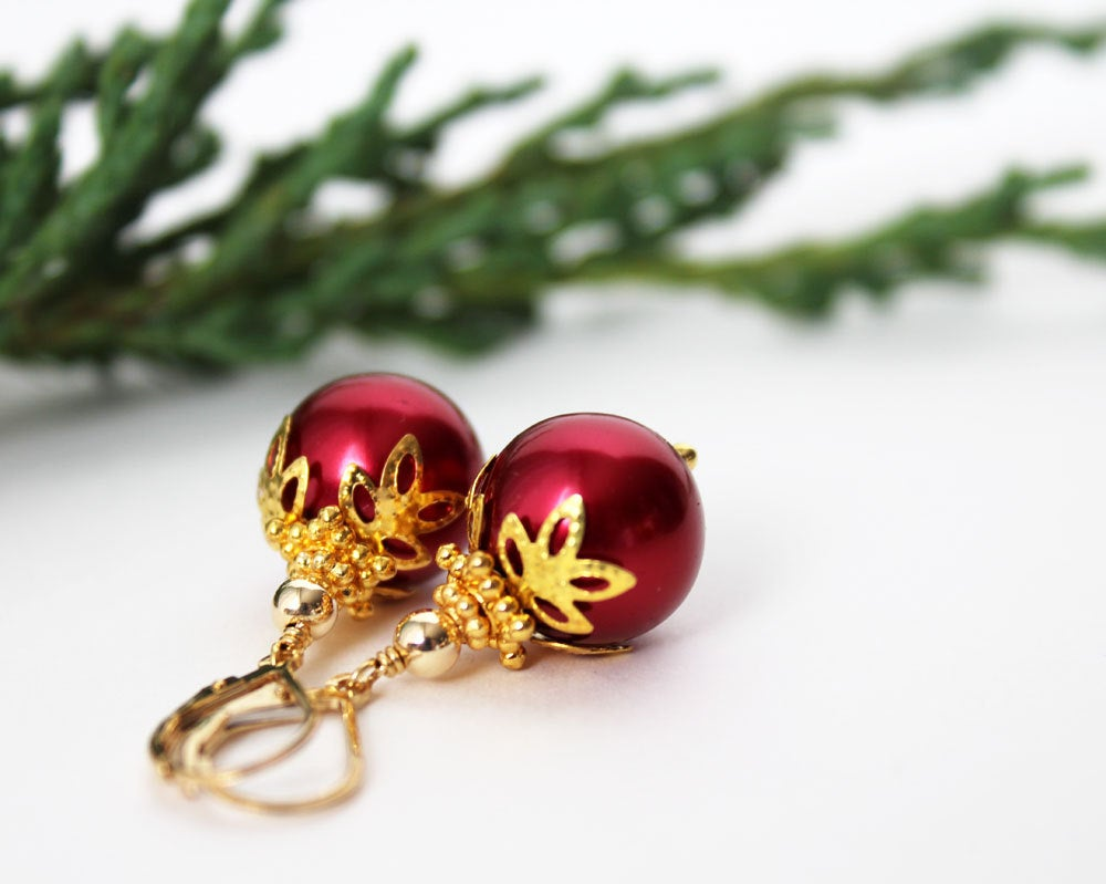 Red Christmas Ball Earrings ~ 14mm Gold