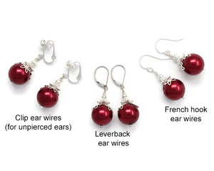 14mm Red Christmas Ball Necklace & Earring Set