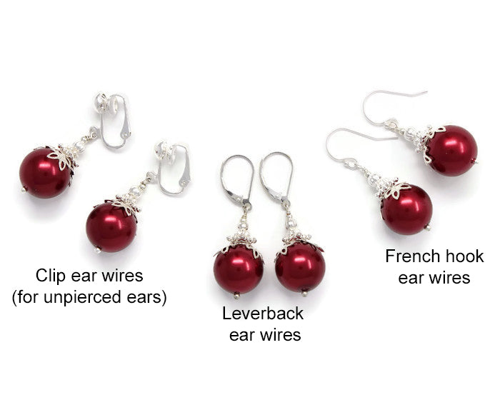 14mm Christmas Red Christmas Ball Earrings
