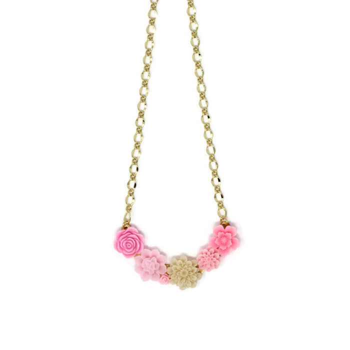 "Bib of Blooms Necklace 19"" ~ Pink Lemonade"