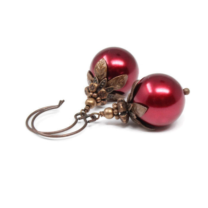 Red Christmas Berry Earrings ~ 14mm