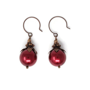 14mm Red Christmas Berry Earrings