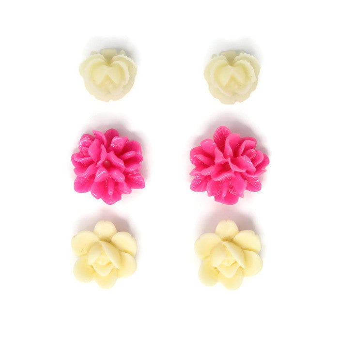 Bloom Stud Set ~ Hot Pink Ivory