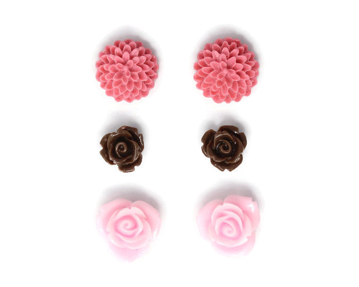 Bloom Stud Set ~ Chocolate Covered Strawberry