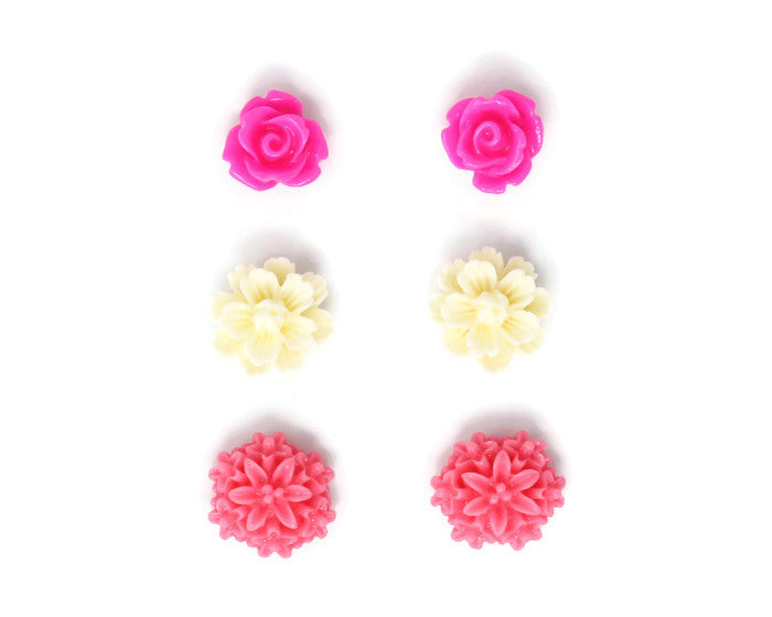 Bloom Stud Set ~ Creamy Fuchsia