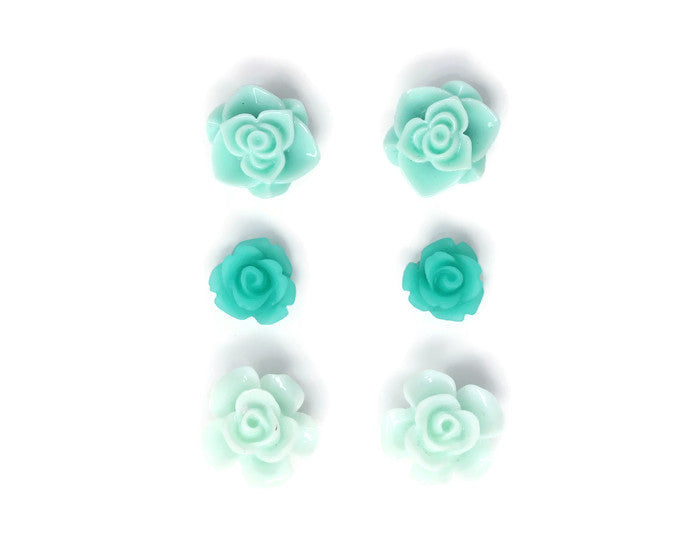 Bloom Stud Set ~ Frosted Aquamarine