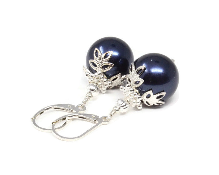 Navy Blue Christmas Ball Earrings ~ 14mm
