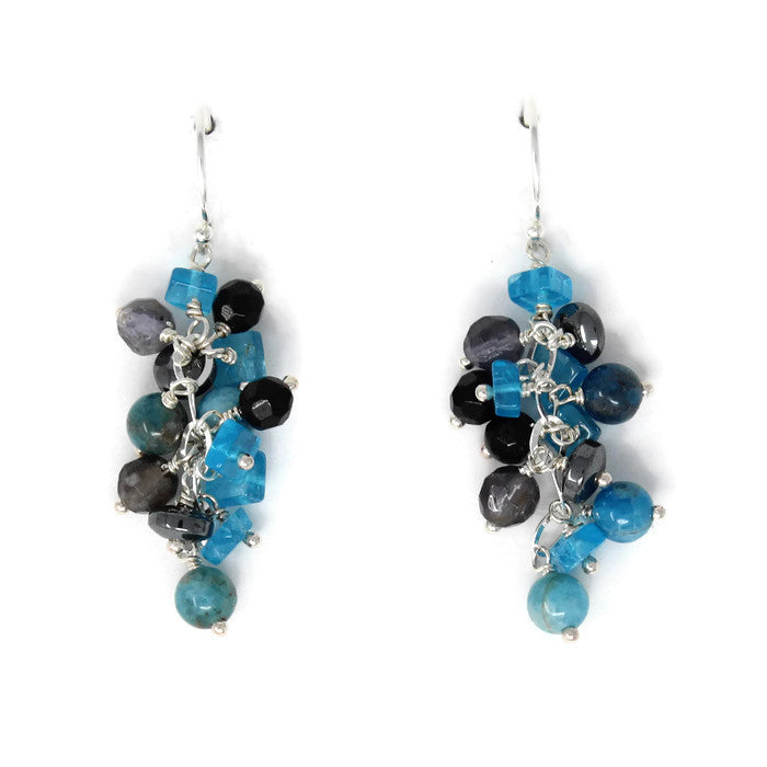 cascade earrings sterling silver onyx apatite iolite earrings