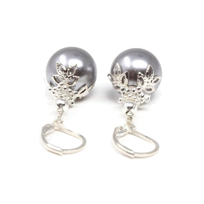 Silver Christmas Ball Earrings ~ 14mm