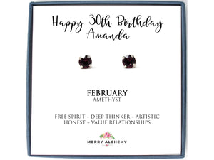 Happy 30th Birthday February Birthstone Stud Earrings in Amethyst