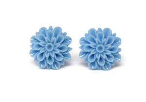 Large Single Bloom Studs in French Blue Mums