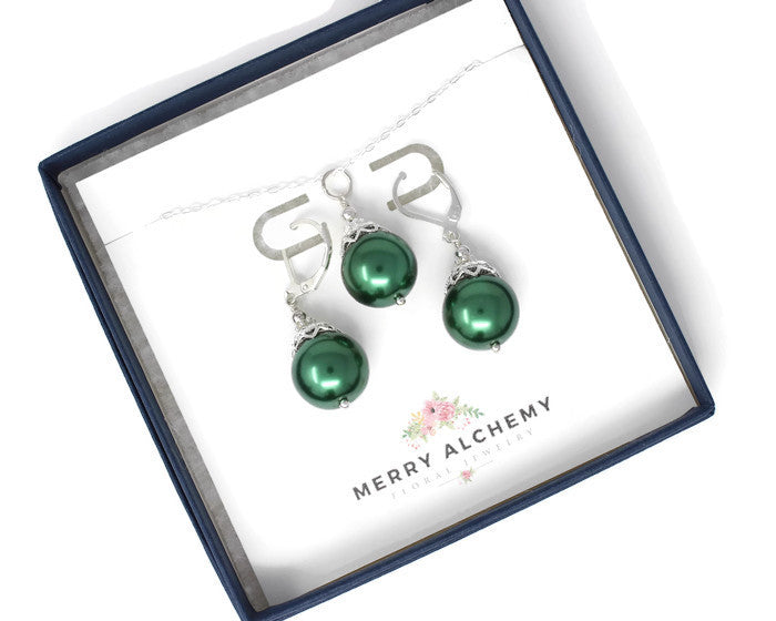 Green Christmas Ball Necklace & Earring Set ~ 14mm