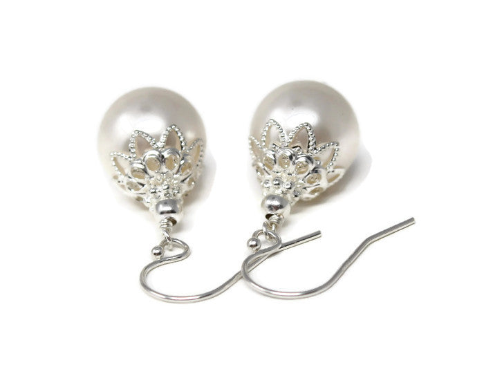 White Christmas Ball Earrings ~ 12mm