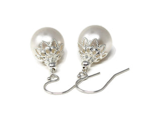 12mm White Christmas Ball Earrings