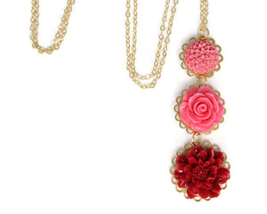 "Long-Stemmed Blooms Necklace 30"" in Berry Succulent"