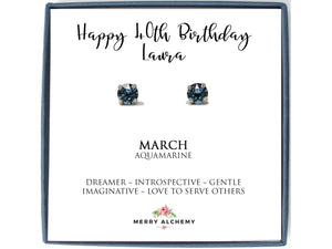 Happy 40th Birthday March Birthstone Stud Earrings in Aquamarine