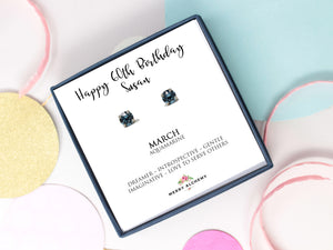 Happy 60th Birthday March Birthstone Stud Earrings in Aquamarine