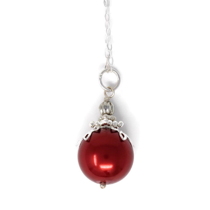 Red Christmas Ball Necklace & Earring Set ~ 14mm