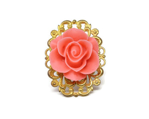 Ring Bouquet in Single Coral Pink Rose