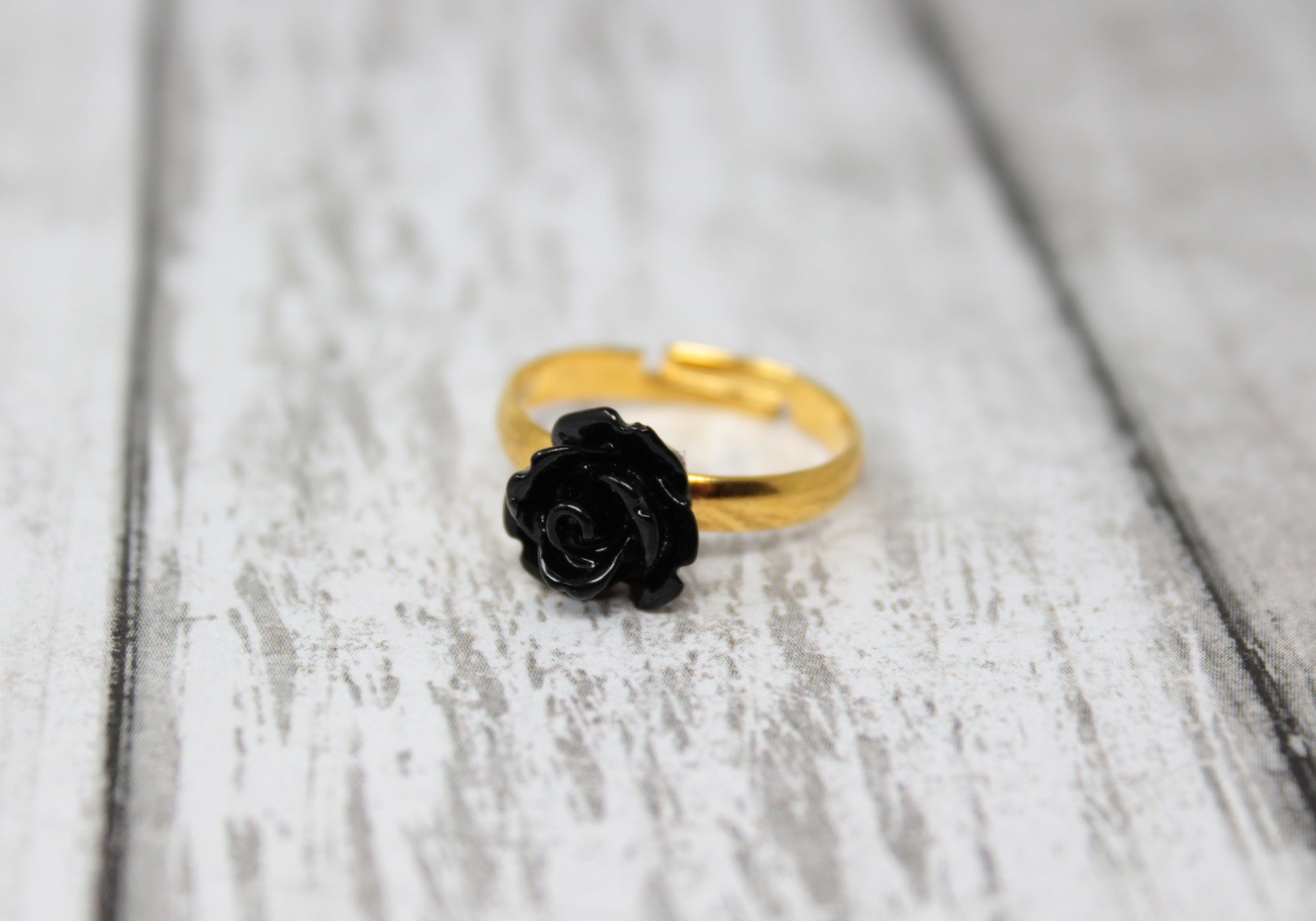Tiny Petals Stacking Ring ~ Black Rose