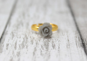 Tiny Petals Stacking Ring ~ Frosted Gray Rose