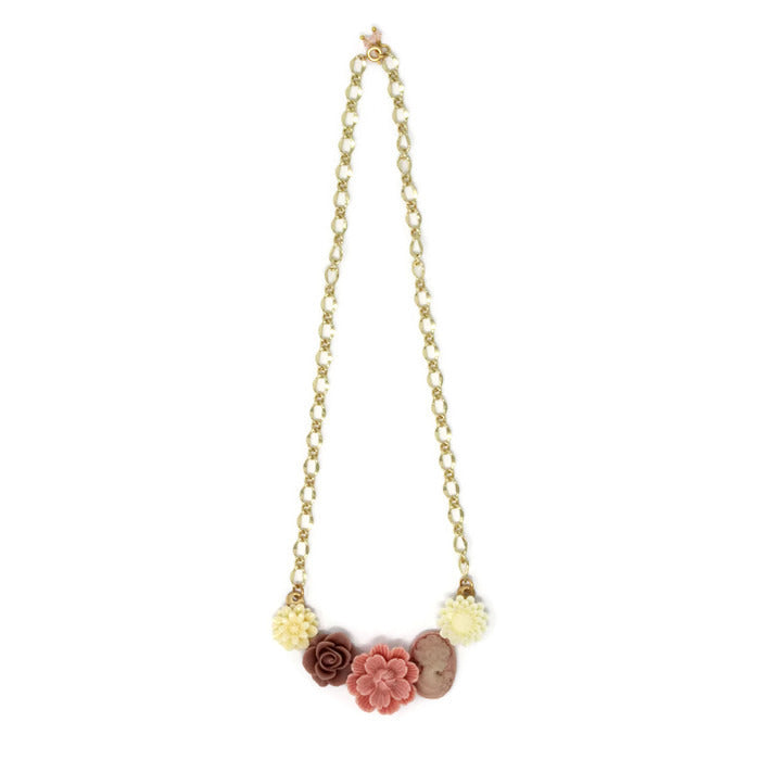 "Bib of Blooms Necklace 19"" in Peony Cameo"