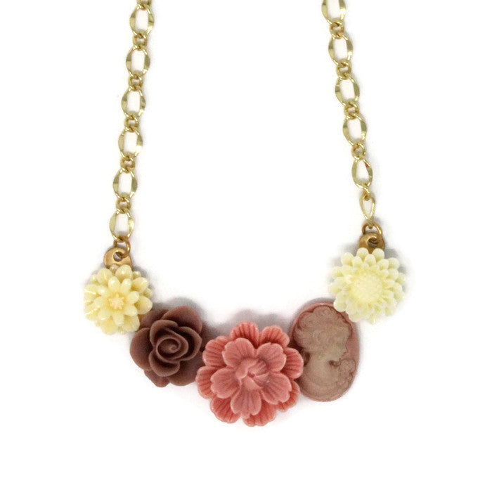 "Bib of Blooms Necklace 19"" ~ Peony Cameo"