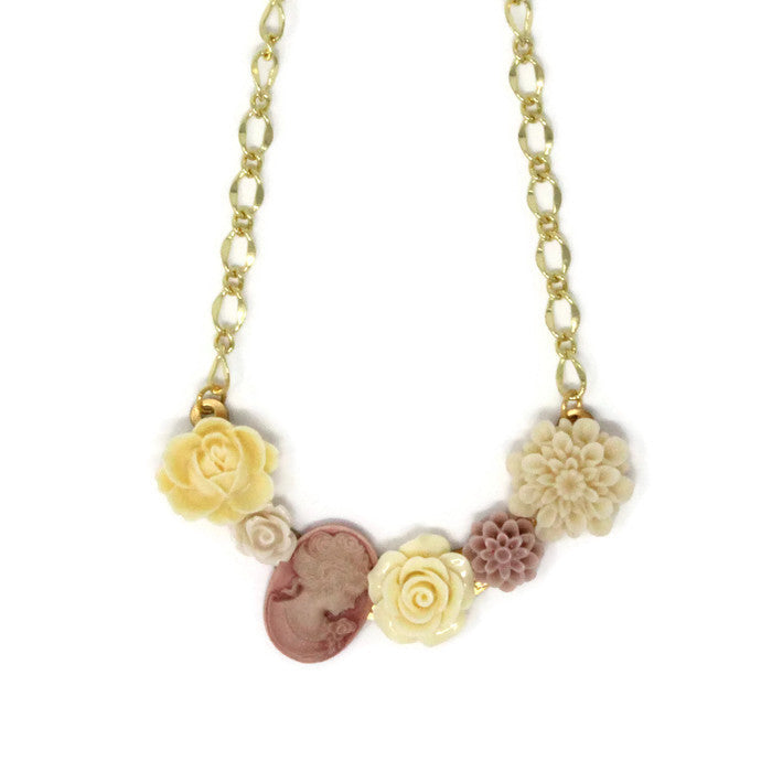 "Bib of Blooms Necklace 19"" ~ Dusty Rose Cameo"