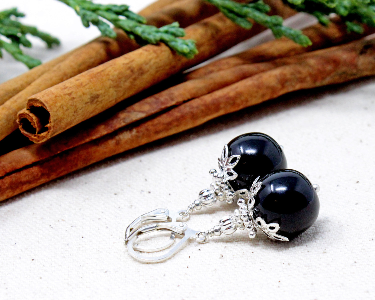 Black Christmas Ball Earrings ~ 14mm