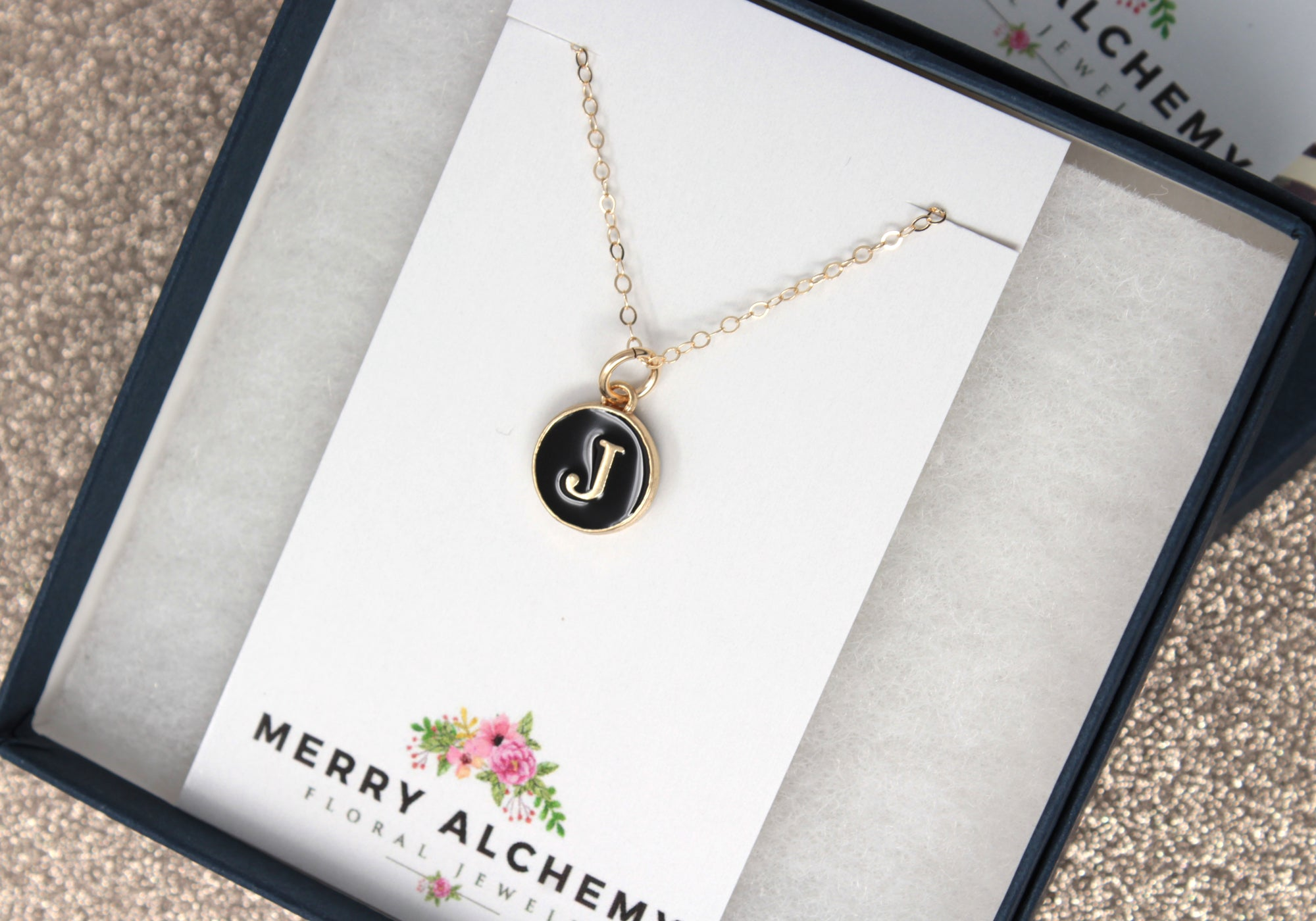 Black Enamel Initial Necklace