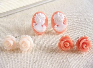 Bloom Stud Set in Pink Lady Cameo
