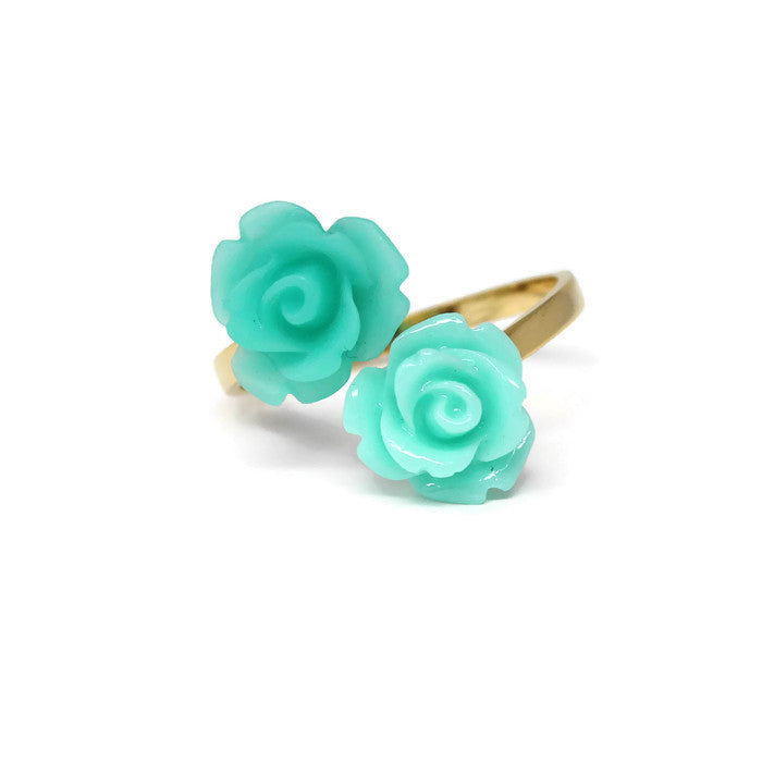 Blooming Ring ~ Sea Emerald