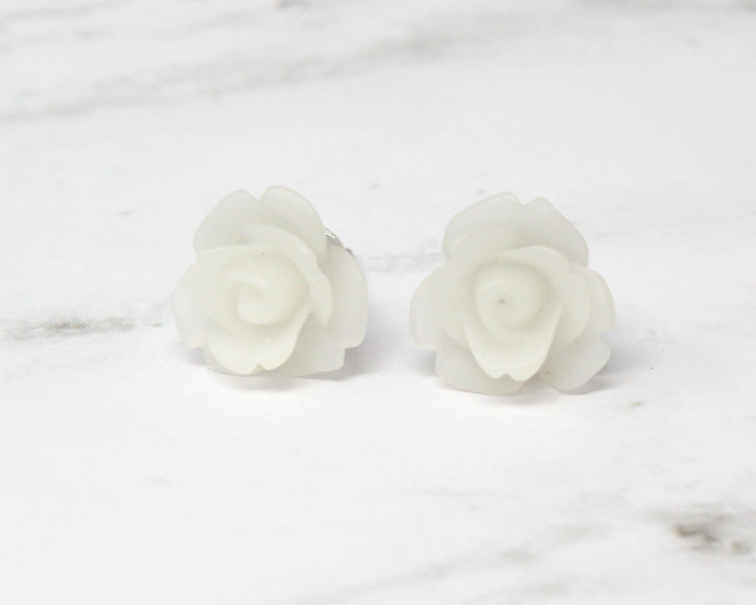 Single Bloom Studs in Frosted White Rose