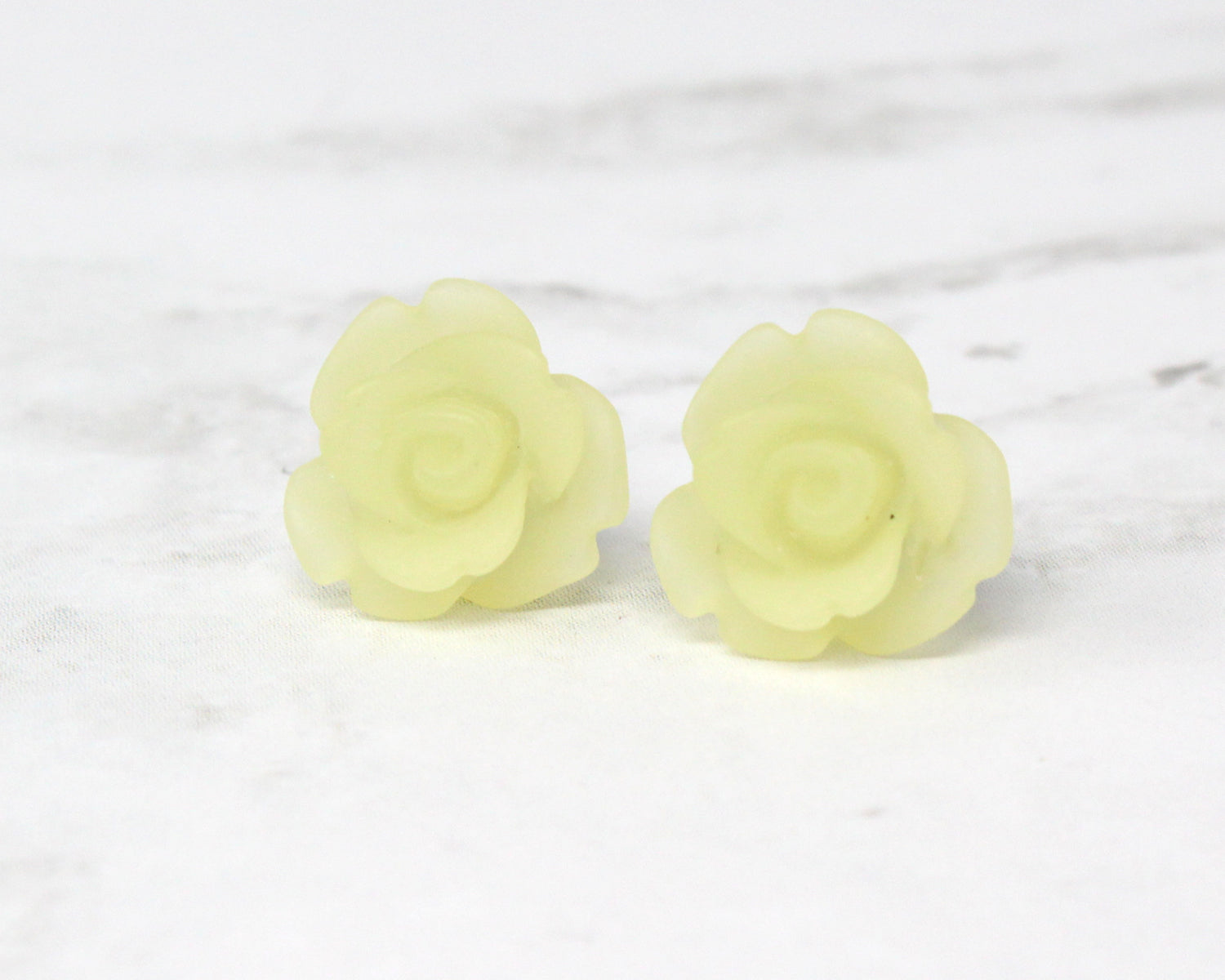 Single Bloom Studs ~ Frosted Yellow Rose