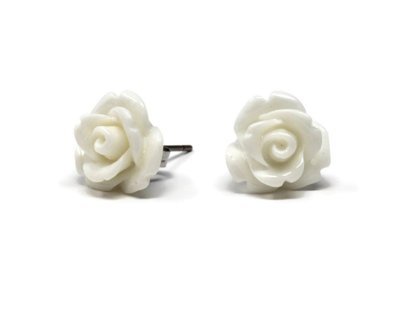 Single Bloom Studs ~ Glossy White Rose