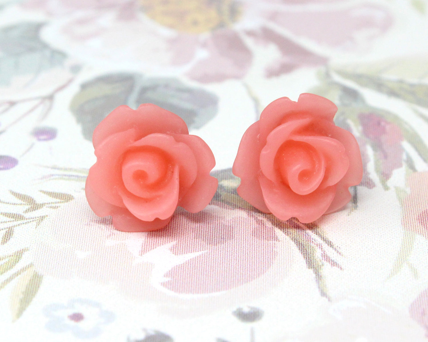 Single Bloom Studs ~ Living Coral