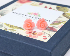 Single Bloom Studs in Living Coral