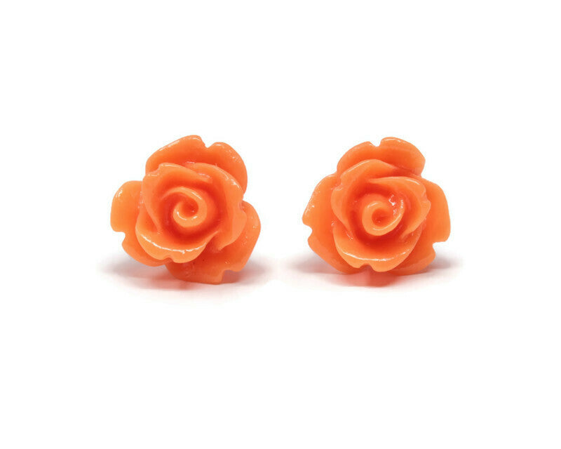 Single Bloom Studs ~ Neon Orange Roses