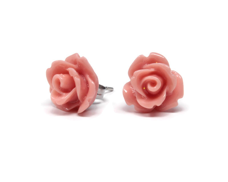 Single Bloom Studs ~ Salmon Pink Roses