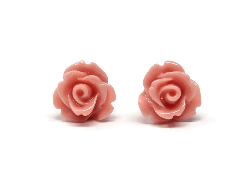 Single Bloom Studs in Salmon Pink Rose