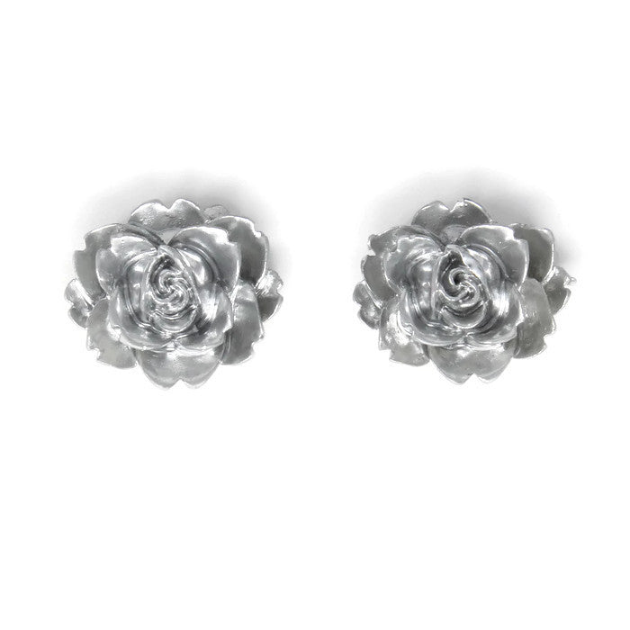 Large Single Bloom Studs ~ Metallic Silver Rose