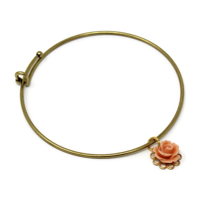 Tiny Petals Layering Bangle in Tiny Salmon Pink Rose