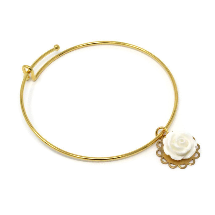 Tiny Petals Layering Bangle ~ White Rose