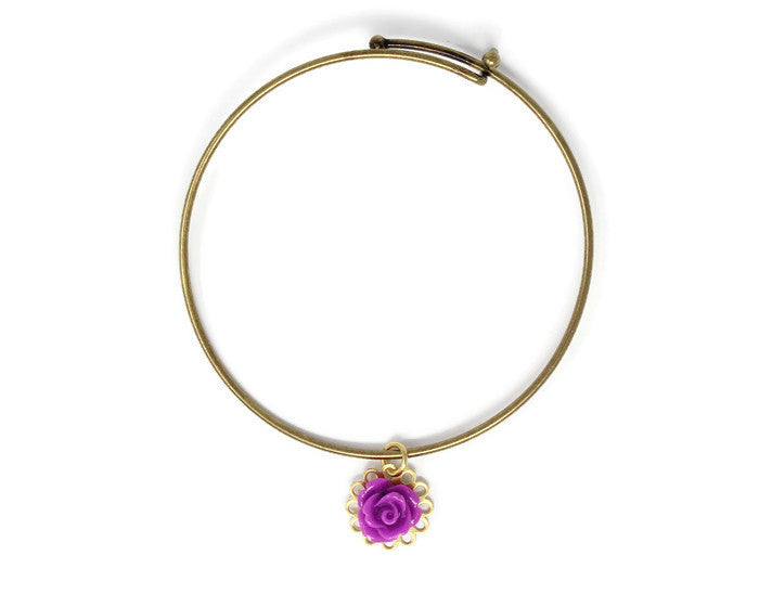 Tiny Petals Layering Bangle ~ Byzantium Purple Rose