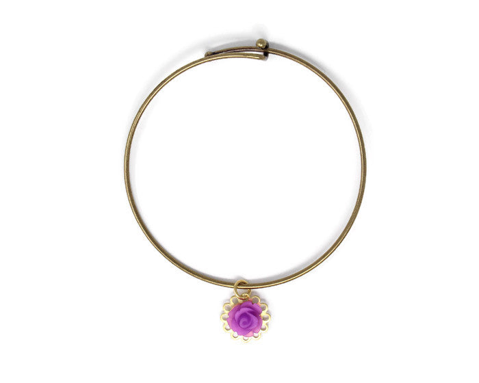 Tiny Petals Layering Bangle in Frosted Purple Rose