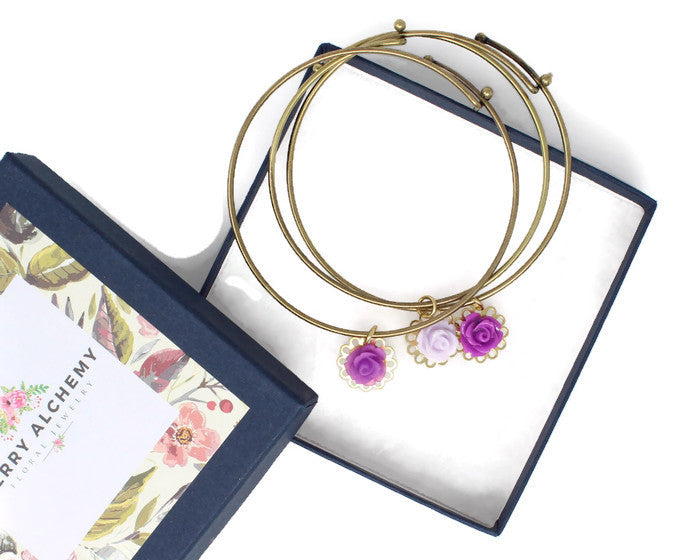 Tiny Petals Layering Bangle ~ Frosted Purple Rose