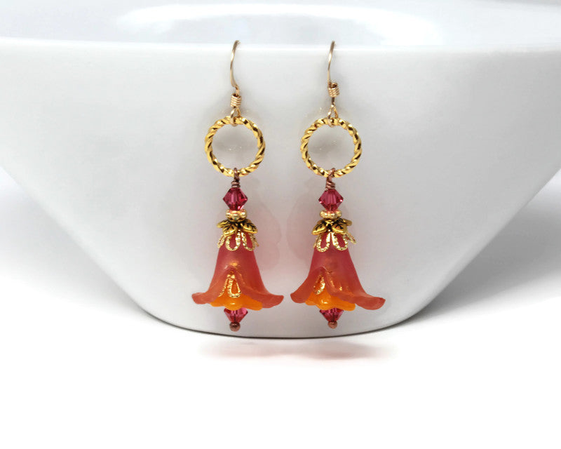 Floral Earrings in Pomegranate Spice