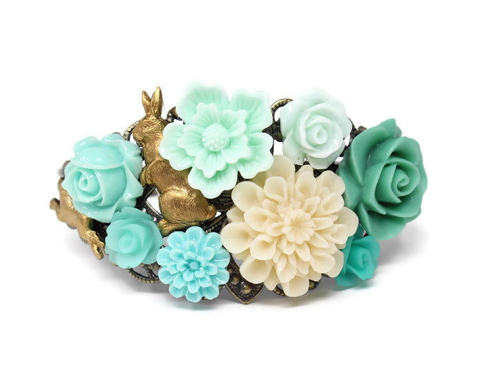 Garden Cuff ~ Shades of Green Rabbit Party